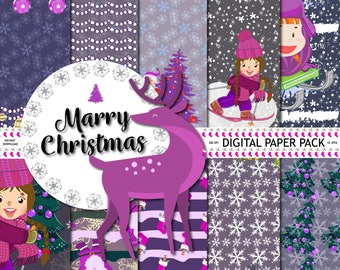 Christmas Paper Pack, Christmas Digital Background, Xmas Tree Pattern, Scrapbook Paper,Invitation, Planner, Backgrounds,Winter Digital Paper