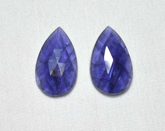Matched Pair, Iolite Rose Cut Flat Gemstone, Iolite Faceted Pear Shape, Iolite Gemstone, Gemstone For Earring,  11.5x19.5mm Each