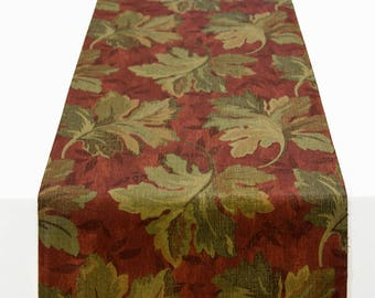 Autumn Leaf Table Runner, Table Runner in Shades of Rust and Olive, Fall Table Runner, Thanksgiving Table Runner