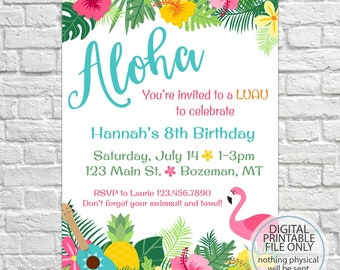 Luau Birthday Invites, Aloha Pineapple Invitations, Summer Birthday Invite, Adult Birthday, Kid's Birthday Invitations, Hawaiian Theme Party