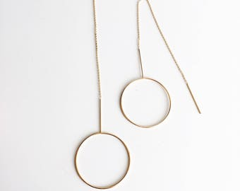Oversized circle threader earrings