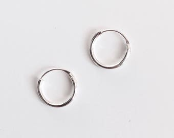 Simple small hoop earrings sterling silver