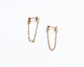 Dainty chain back ball earrings