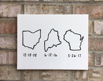 State Outline with Dates   Met, Engaged, Married Map   Wedding/Anniversary Gift   Home Decoe