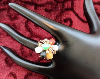 Vintage 14K Yellow Gold Multi Color Jade Ring, Size 6