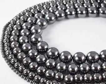 Hematite Gemstone Round Stone Beads 3mm/4mm/6mm/8mm/10mm/12mm natural stone ,healing stone, chakra stones for Jewelry Making.
