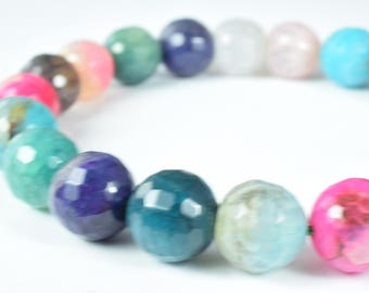11mm/13mm/14mm Rainbow Lace Faceted Agate Round Beads/Round Faceted/Wholesale Beads/Rainbow Lace Agate/Faceted Wholesale Beads/Agate Bead
