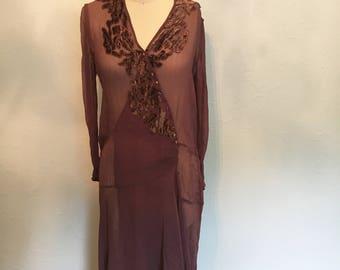 RARE 1920's chocolate brown 1920's dress / vintage 20's dress / 20's dresses