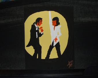 PULP FICTION quentin tarantino one of a kind hand painted on canvas 8x10 art movie dance scene