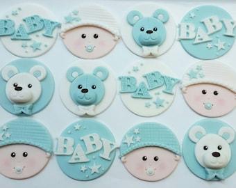 12 x Baby Shower Cupcake Toppers - Fondant Handmade Edible Boy Girl Neutral Baby Shower
