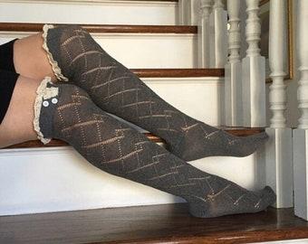 Ivory Knee High Socks, Boot socks, Women Accesories, Girl Boot socks, Knee High Socks with lace