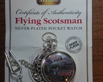 Mechanical Pocket Watch  The Flying Scotsman  Silver Plated. With Chain and COA