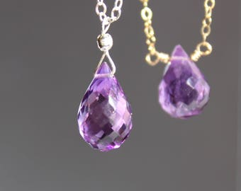 Amethyst Necklace, Amethyst Choker, February Birthstone, Amethyst Teardrop Necklace, Gemstone Necklace, Pendant Necklace