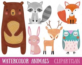 Watercolor Woodland Animals Clipart | Nursery Decor Printables