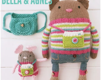 Knitted Cat and Mouse Friends Bella and Agnes with accessories PDF Knitting Pattern