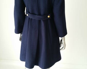 70s Coat | Military Style Coat | Blue Wool Coat | Princess Coat | Fit and Flare Coats | 70s XXS | Wool Coat XS | Double Breasted Coat |