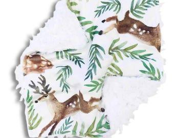 Forest Deer Minky Baby Boy Lovey | Green and Brown Woodland Deer Security Blanket | Mini Baby Blanket | Faux Fur Lovie