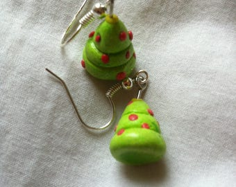 Colorful Christmas trees earrings
