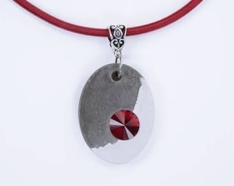 Necklace Concrete Black white concrete jewelry with red rhinestone stone concrete on red silk ribbon concrete red yin Yang
