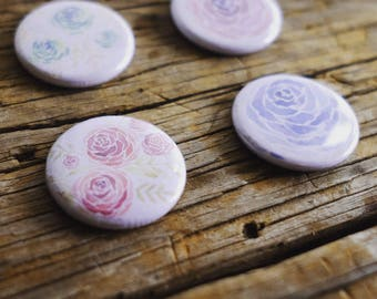Watercolour floral magnet set