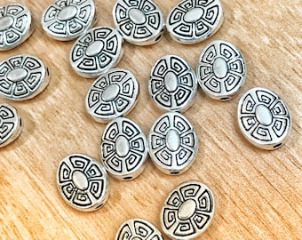 11mm Oval beads, Tibetan style silver beads with cute design, jewelry making, 10 per pack