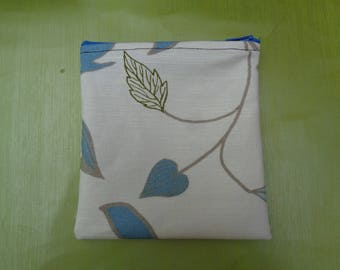 Blue Leaf - Top Zip Small  Poppins Waterproof Lined Zip Pouch - Sandwich bag - Eco - Snack Bag - Bikini Bag - Lunch Bag - Make Up Bag
