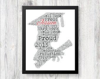 PERSONALISED Graduation Girl Female Celebration Word Art Print Keep Sake Gift College or University School Present UNIQUE