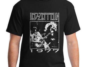 LED ZEPPELIN 1977 TOUR Tee - Jimmy Page Guitarist - Robert Plant - Concert Tee - Classic Rock - 70's Hard Rock - Guitar t-shirt
