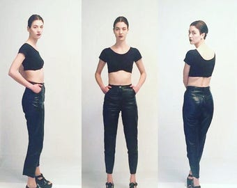 WEEKEND40%OFF Vtg 80s Leather High Waist Black Pants