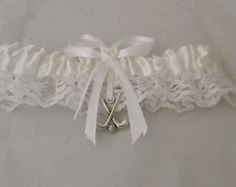 Wedding Reception Party Golf Clubs and Ball Golfer Satin Garter White