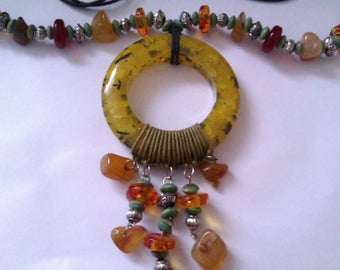 Tribal style hard plastic ring necklace