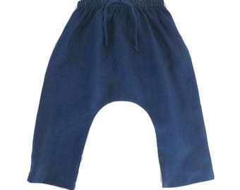 SALE 20% OFF - Navy Coast Slouch Pants, Drop Crotch Pants, Harem Pants, Linen Pants