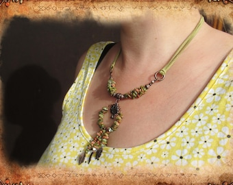 Necklace ethnic or Bohemian, Unakite and suede color green and copper