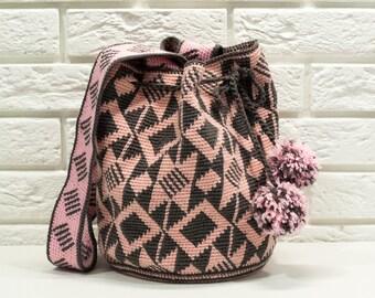 Large Mochila Bag, wayuu tecnique large woven beach bag, cross body bag,  indigenous bag, hobo bag,Grey pink bag -{KL4
