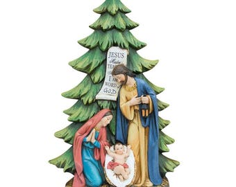 "13"" Mary, Joseph and Jesus Nativity Tabletop Christmas Tree Figurine"