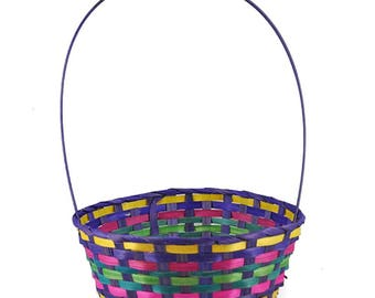 """15.25"""" Woven Colorful Round Easter Basket"""