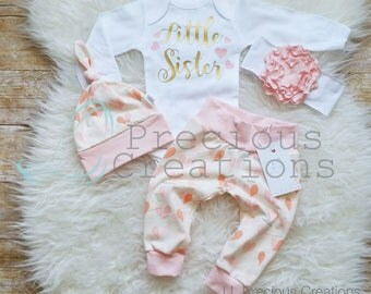 Little Sister Outfit Newborn Baby Girl Outfit  Photo Prop Coming Home Outfit Baby Girl Clothes Baby Shower Gift New Baby Gift