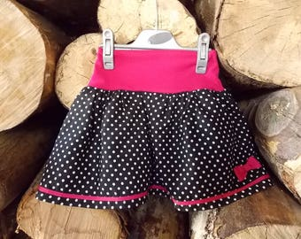 """new kids skirts """"fairy"""" black has white dots, pink bow from 2 to 9 years"""