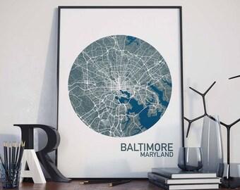 Baltimore, Maryland City Map Print