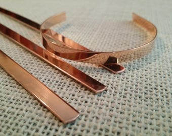 12 Polished 1/4' x 6' 20 Gauge Pure Copper Cuff Bracelet Blanks-Flat