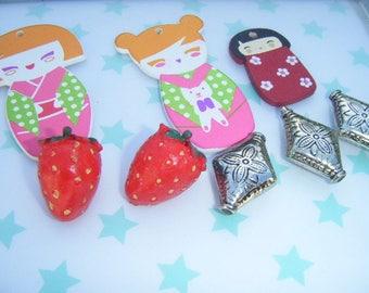 matryoshka nesting doll charms beads and cabochons Strawberry wood