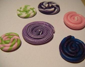 Set of 6 candy treats lollipop polymer fimo cabochons