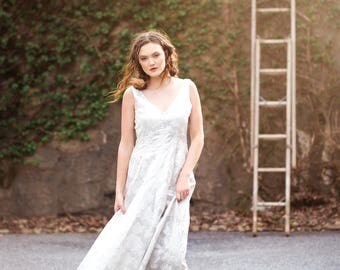 Silver Brocade Maxi Dress