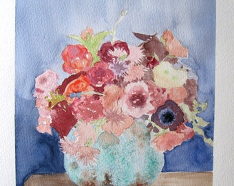 Spring bouquet watercolor painting