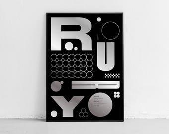 Rury. Wall art. Original poster. High quality giclée print. signed by designer.