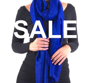 SALE - Electric Blue Cashmere Scarf Wrap. Handcrafted 100% Pure Himalayan Cashmere + Free Shipping