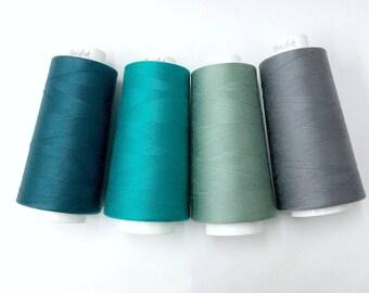 Serger thread, 3000 yards all purpose sewing thread by Maxi-lock teal, spruce, aqua, dark grey