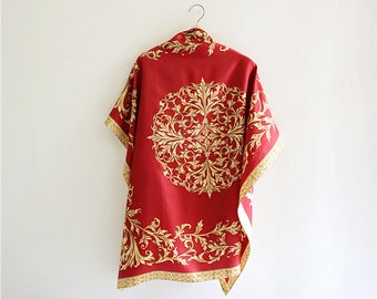 "LANCETTI Baroque red gold 100% silk twill oversize 35"" scarf.Authentic Italy large size vintage soie women scarf. P73824"