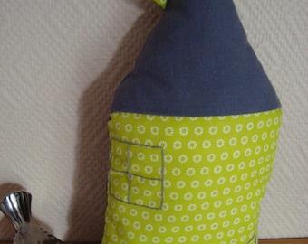 """Mini pillow"" lime green house """