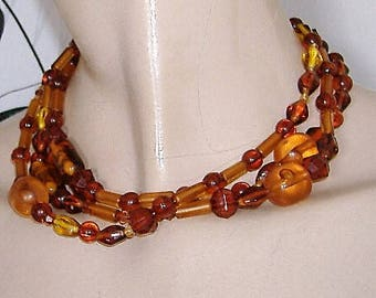 AMBER colour long Perspex 1980s VINTAGE NECKLACE